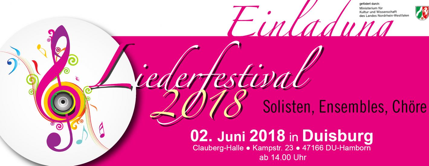 Banner Liederfestival 2018 der LmDR e. V. NRW in Duisburg